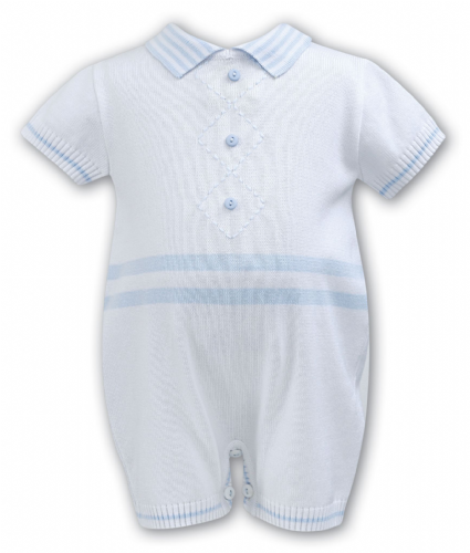 Sarah Louise Boys Blue and White Romper